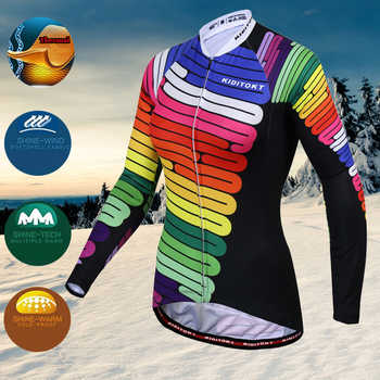 KIDITOKT Women Pro Winter Thermal Fleece Cycling Jersey Set MTB Bicycle Cycling Clothes Keep Warm Bike Cycling Clothing Suit