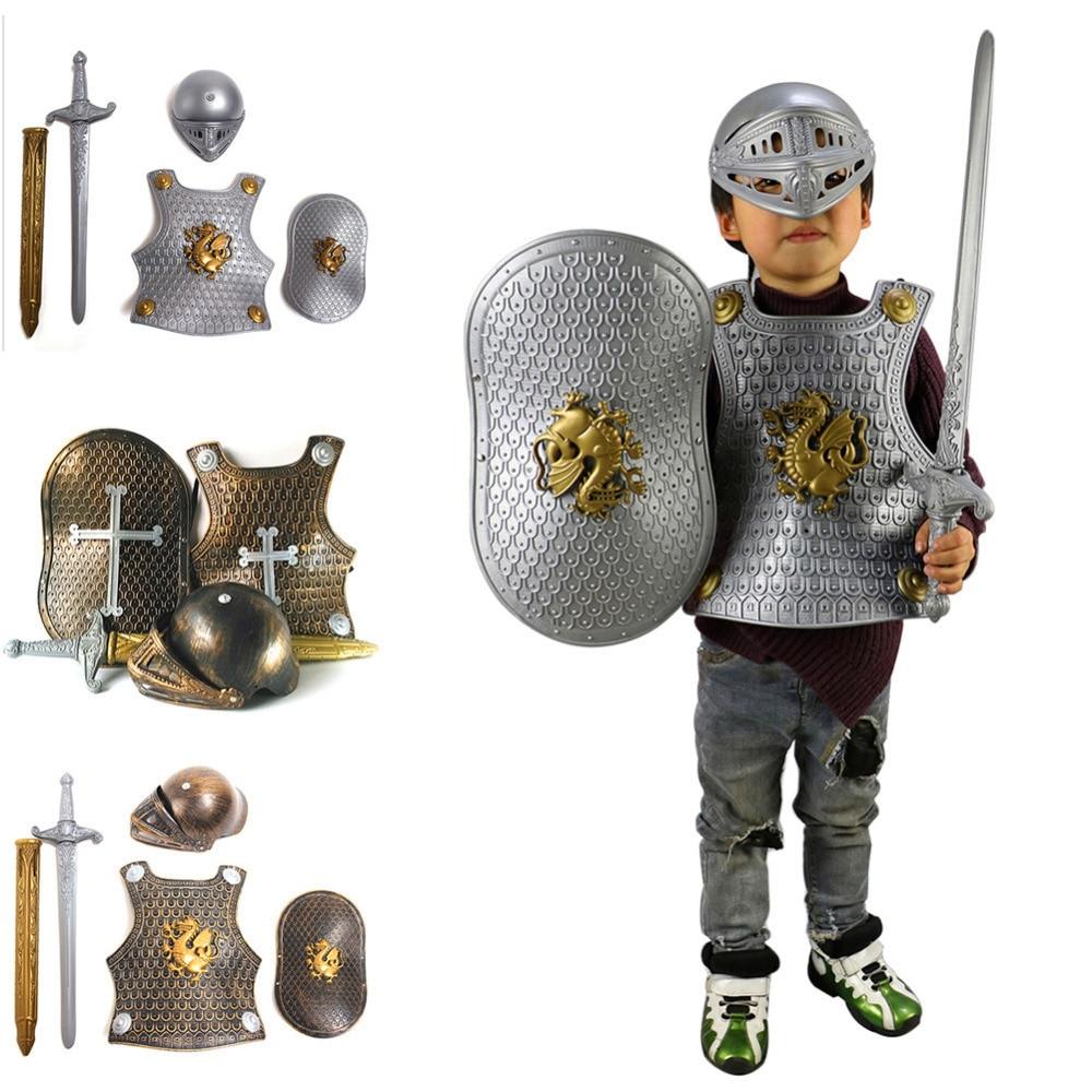 Halloween Kinder Kinder Cosplay Westen Kostüm Prop Römischen Krieger Kinder Ritter Gladiator Set Rüstung + Schild + Schwert + Helm Kunden Zuerst