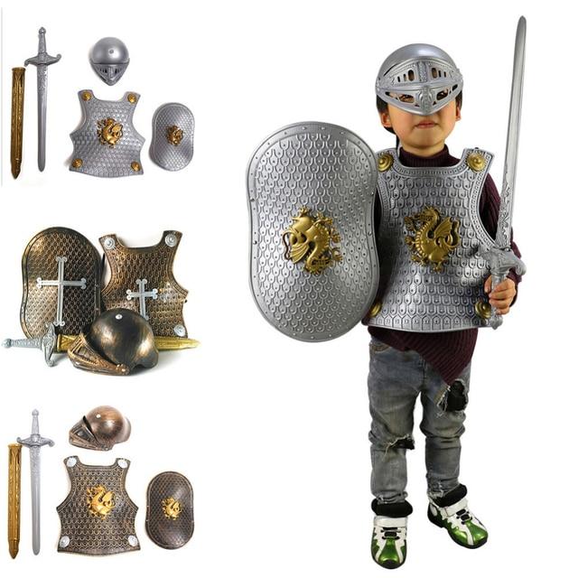 d6513445c6fba3 Halloween dla dzieci dzieci Cosplay kamizelki kostium Prop rzymscy  wojownicy dzieci rycerz Gladiator zestaw zbroi +
