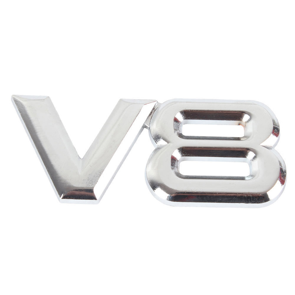 Metal 3D V8 Engine Displacement Car Badge V8 Emblem Logo Sticker V8 Auto Car Decal Badge Styling auto car trucks chrome letter triton badge emblem sticker for mitsubishi triton 200 logo car styling