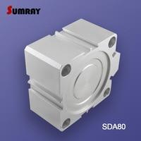 SUMRAY Pneumatic Cylinder SDA Type 80mm Bore 5/10/15/20/25/30/35/40/45/50mm Stroke Aluminium Alloy Pneumatic Air Cylinder