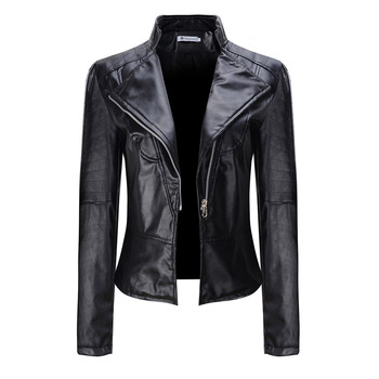 Jacket Gothic Black Zippers Long sleeve Goth Faux Leather