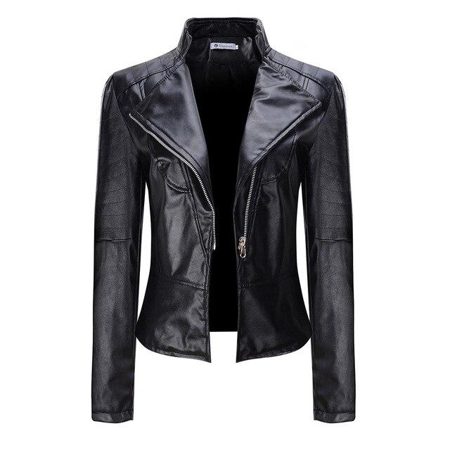 Gothic 2018 Autumn Women faux Leather Jacket Gothic Black  moto jacket Zippers  Long sleeve Goth Female PU  Faux Leather Jackets
