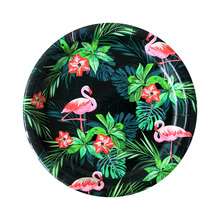 все цены на Fashion Black Flamingo Tableware Paper Plate Flamingo Party Table Decor Tropical Birthday /Wedding Flamingo Party Decoration онлайн