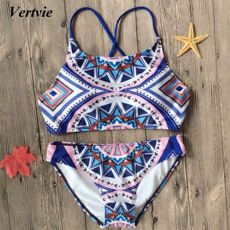 2018 Sexy Women Bikini Set High Neck Swimwear Halter Floral Printed Sling Swimsuits Cross Summer Ladies Push Up Bathing Suit