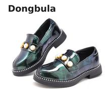 Girls Leathers Shoes For Children Wedding Shoes Black White