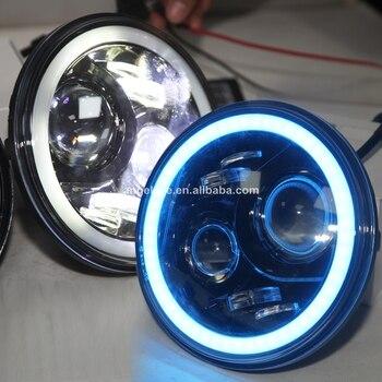 For Jeep Wrangler 07-15 Head Light LED Angel Eyes App Settle 7 colors