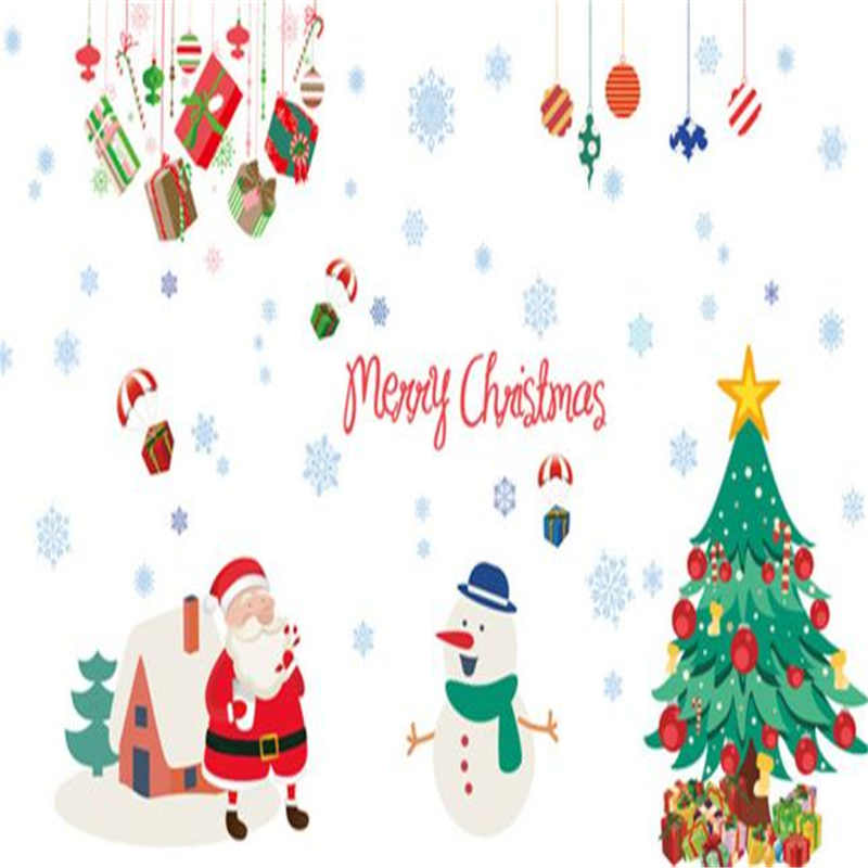 Image 2 - Merry Christmas Wall Stickers Wall Art Removable Home Decal Party Decor Santa Claus Window Transparent Film Stickers flowers-in Wall Stickers from Home & Garden