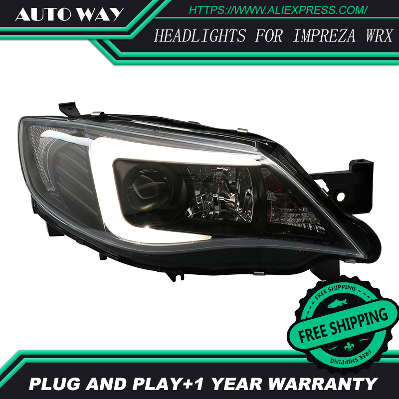 Car Styling Head Lamp case for Subaru WRX WRX STI 2009-2012 Headlights LED Headlight DRL Bi-Xenon Lens HID Double car styling for subaru xv led headlights 2012 2015 for xv head lamp angel eye led drl front light bi xenon lens xenon hid kit