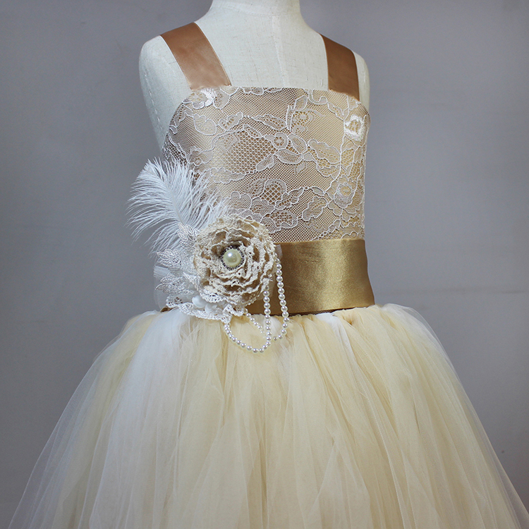Vintage Wedding Dresses Nyc: Real Sample Rustic Champagne Gold Flower Girl Dresses For