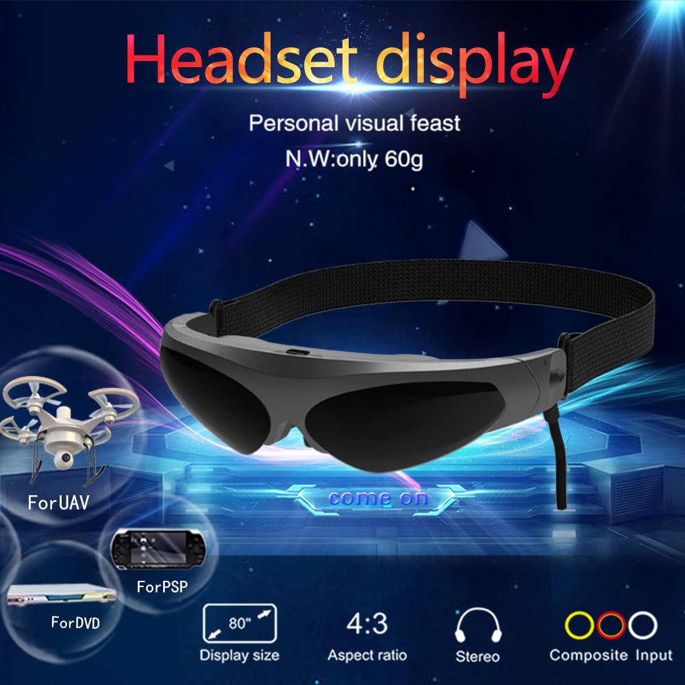 VR 3D Bicchieri di Realtà Virtuale AV Display Montato a Testa FPV Video Vetri Intelligenti Per Blu-Ray Lettore DVD Droni MP5 PS3 XBOX TV