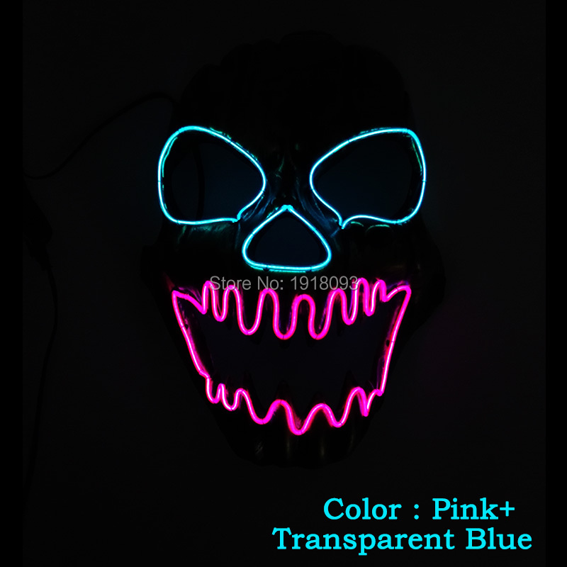 2017 New type EL Wire Mask Skull LED Mask LED Strip Neon Glowing light dance DJ Carnival Mask Halloween Festival decoration airsoft adults cs field game skeleton warrior skull paintball mask
