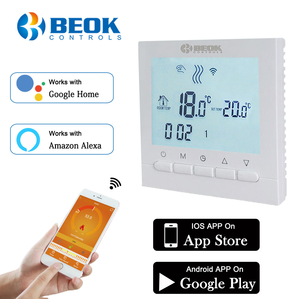 Programmable Room Heating Boiler WIFI Thermostat Digital Temperature Controls Regulator Wifi Control Thermostat for Gas Boilers-in Temperature Instruments from Tools