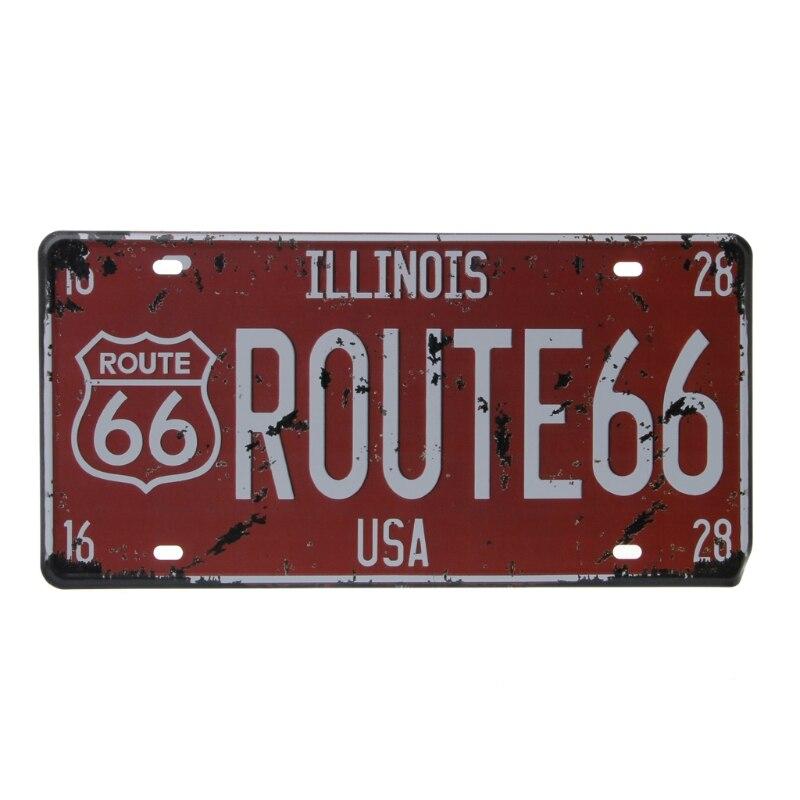 2019 สหรัฐอเมริกาเส้นทาง 66 รถใบอนุญาต Vintage แผ่นโลหะ Wall Craft Retro โรงรถ Home Decor รถอุปกรณ์เสริม Universal