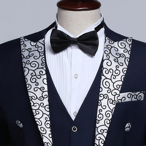 Image 5 - PYJTRL זכר אופנה שחור כהה כחול לבן פרחוני דש חתונה חתנים מעייל פראק טוקסידו ערב מסיבת תחפושות זמרים חליפת גברים