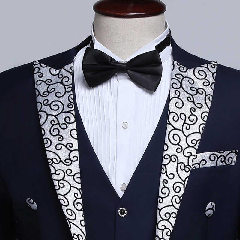 PYJTRL 男性ファッション黒紺白花結婚式新郎燕尾服タキシードイブニングパーティー衣装歌手スーツ男性
