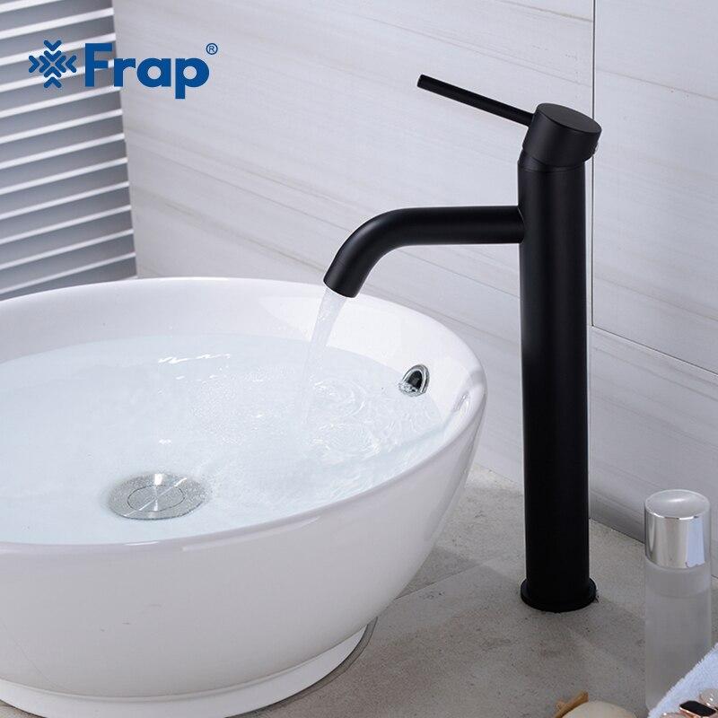 Frap pont monté salle de bains évier mélangeur robinet mitigeur noir haute qualité populaire eau chaude et froide robinets Y10161