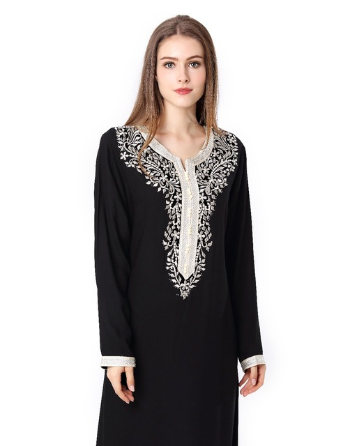 Muslim women Long sleeve Dubai Dress maxi abaya jalabiya islamic women dress clothing robe kaftan Moroccan fashion