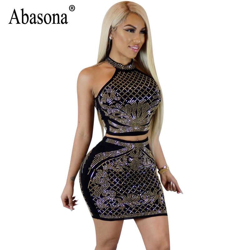 Abasona Women Rhinestone Dress Sexy Two Piece Set Summer Sleeveless Mini  Halter Dress Ladies Evening Party 3174269007c6