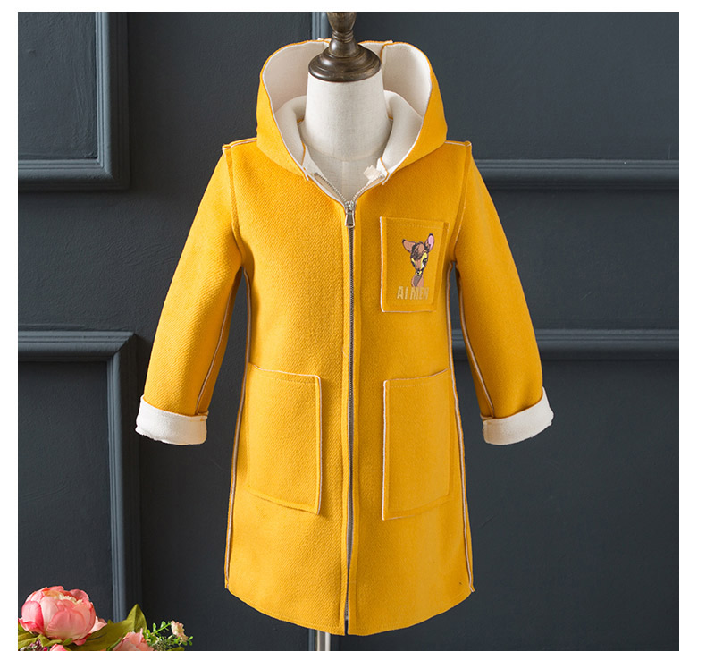 2016 winter children's clothes girls coats slim deers thicken hooded baby girl woolen blends coats for girls big kids outerwears