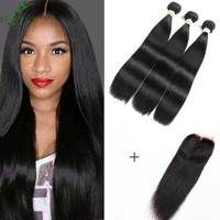 Beaudiva Malaysian Straight Hair With Lace Closure With Baby Hair 3 Pieces Unprocessed Straight Human Hair