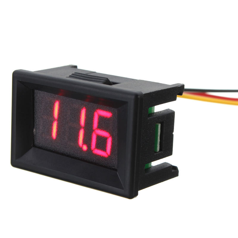 DC 0-30V 3 Wire LED Display Digital Voltage Meter Voltmeter Panel For Car Motor Red Prac ...