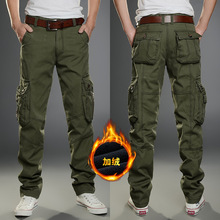 Men Winter Thick Fleece Thermal Multi pocket Overalls Pants Outdoor Sports Training Hiking Climbing Warm Breathable Trousers