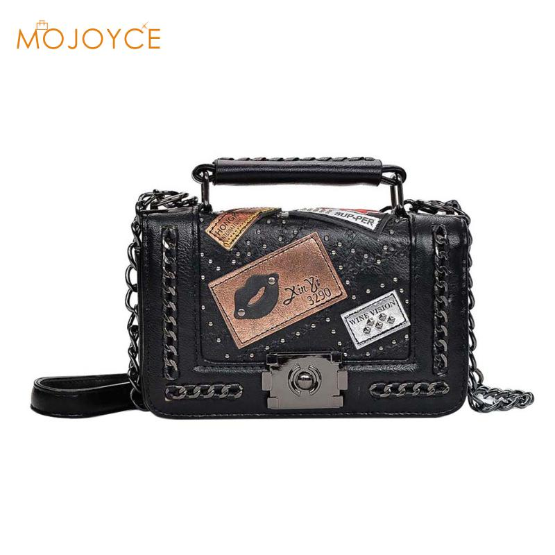 2018 Women Chains Messenger Bags New Vintage Bag Ladies Famous Brand Crossbody Bag For Women Rivet Small Handbags Shoulder Bags famous brand designer 2018 ladies small messenger bags women serpentine leather shoulder bag high quality chains crossbody bags