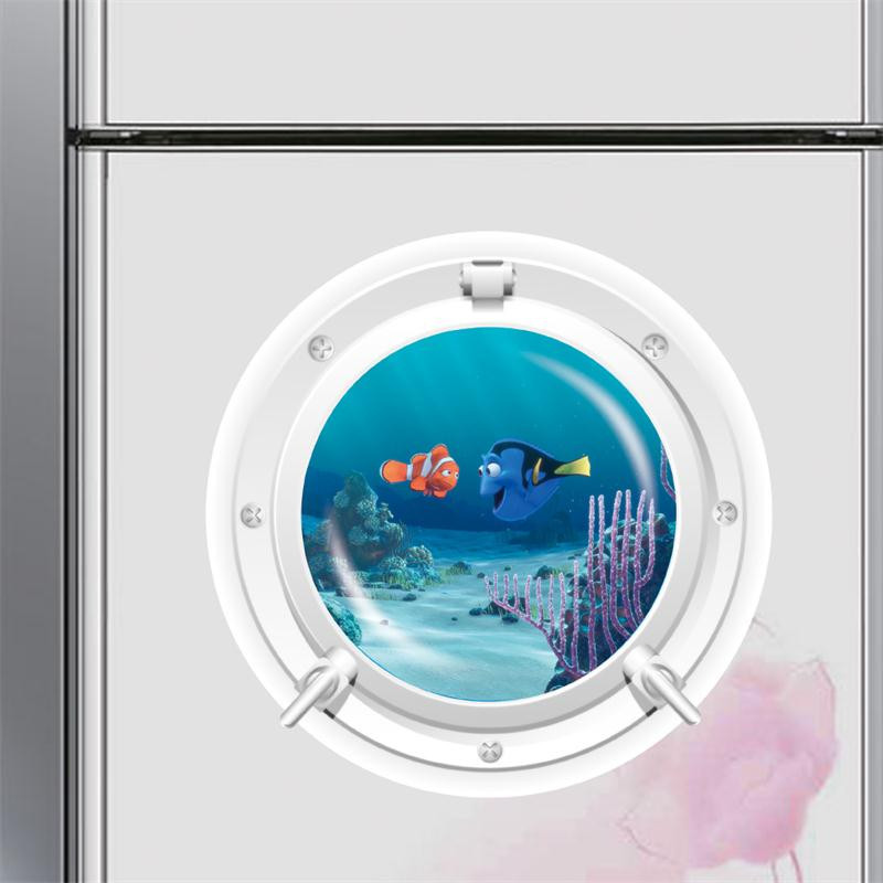 Cute diyblue sea ocean world fish window submarine wall for Fish window cleaning reviews