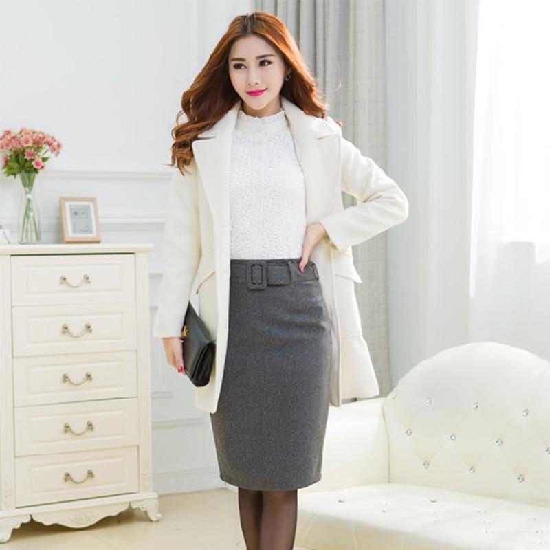 New Autumn Winter Plus Size Slim High Waist Woolen Pencil Skirt Large Big Size Ladies OL Skirts Dark Gray/Wine Red/Black S-XXXL
