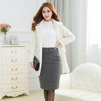New Autumn Winter Plus Size Slim High Waist Woolen Pencil Skirt Large Big Size Ladies OL Skirts Dark Gray/Wine Red/Black S XXXL