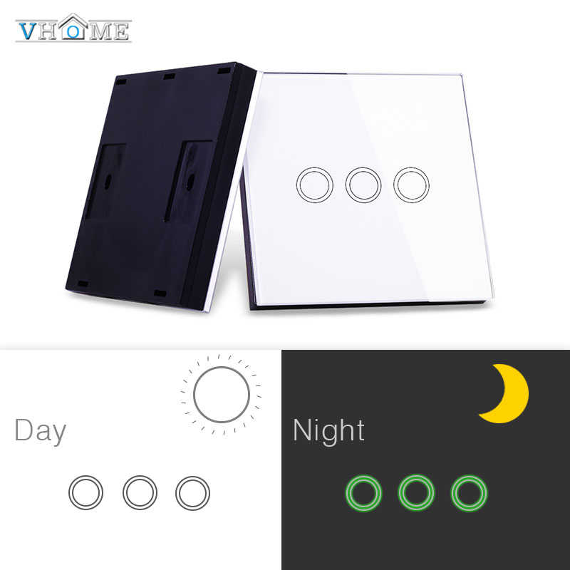 Vhome Wireless Remote Control RF 433MHZ Glass Panel Switch, Universal Touch Switch Light Control, Garage Door, Electric Curtains