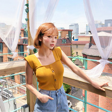 Korean style slimming casual summer women tank top cotton streetwear white,black,yellow crop top mujer button crop top