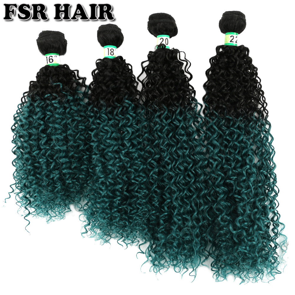 Hair Braids Fsr Afro Kinky Curly Hair Extensions Green Color Synthetic Hair Weave 16 18 20 & 22 Ombre Hair Bundles 70g/bundles