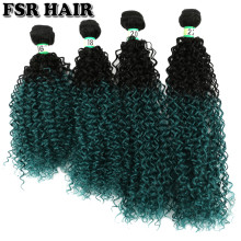 "FSR Afro Kinky Curly Hair Extensions Green color synthetic hair weave 16"" 18"" 20"" & 22"" Ombre hair bundles 70g/Bundles(China)"