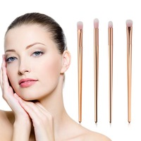 4 PCS Professional Rose Gold Soft Fiber Makeup Brushes Eye Shadow Foundation Blending Concealer Angle Make