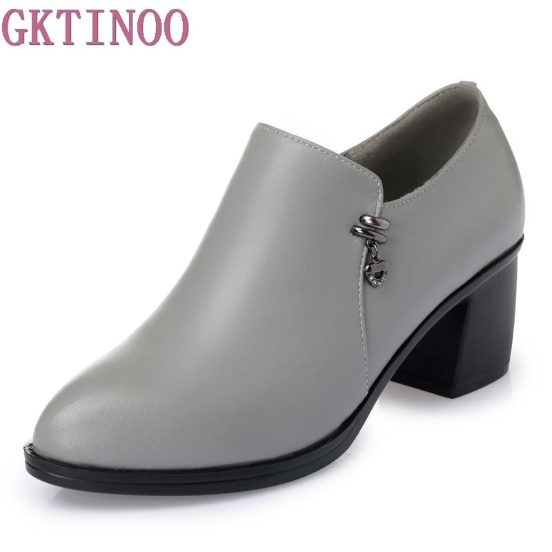 Mode Chaussures Talon Femmes Printemps Carré Cuir En De Élégant Automne gris Noir Pompes Véritable Haute wI7qI
