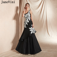 JaneVini New Arrival One Shoulder Black Long Evening Dresses 2019 Sexy Mermaid White Appliques Lace Plus Size Formal Party Gowns