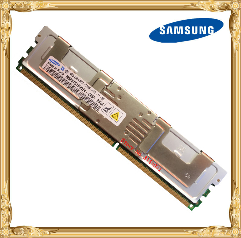 Samsung Server memory DDR2 4GB 8GB 667MHz PC2-5300F ECC FBD FB-DIMM Fully Buffered RAM 240pin 5300 4G 2Rx4 original 4gb 2x2g 1rx4 pc2 5300 ecc ddr2 39m5866 46c0518