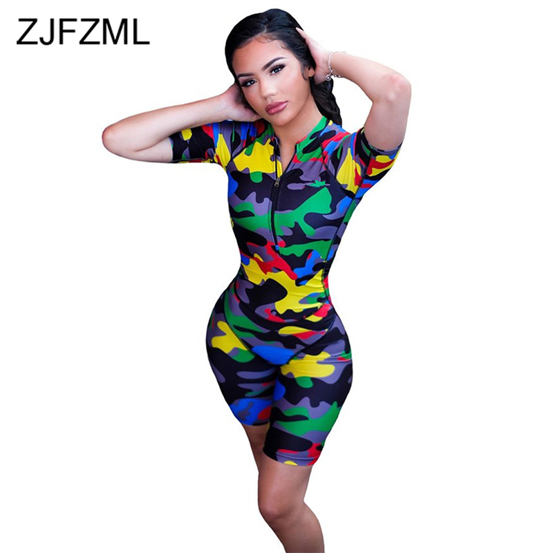 Camouflage Print Sexy Playsuit Casual Deep V Neck Short Sleeve Short Rompers Womens   Jumpsuit   Streetwear Zipper Up Party Bodysuit