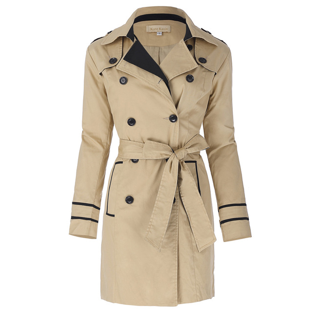 0a2e8e6c40 Trench Coat Women 2017 Slim Fit Khaki Double Breasted Outerwear Patchwork  OL Long Sleeve Elegant Female
