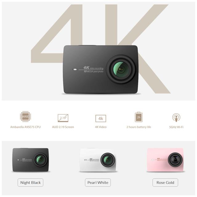 """Yi 4 k versão ambarella câmera de ação internacional a9se cortex a9-braço 12mp cmos de 2.19 """"155 graus eis ldc wi-fi"""
