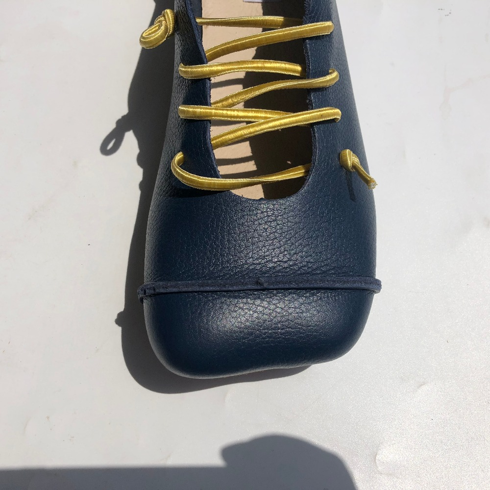 Personnalité Sen yellow Chaussures blue À Chaussures nouveau khaki 2 Black Plat D'été Pur Couleurs La brown Fltas blue Couche Careymade Printemps Femelle Cuir Littéraire Main De Première O8n6npxS