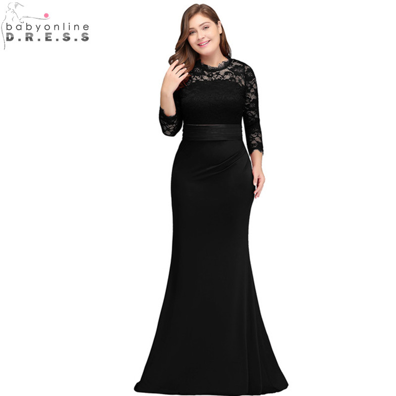 Cheap Lace Mermaid Plus Size Prom Dresses Long Sexy Hollow Out Three Quarter Sleeve Prom Gown with Belt Vestido de Festa Longo