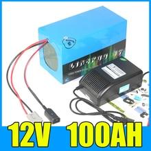 12V 100AH комплект литий-ионный батарей 12,6 V литиевая батарея для хранения солнечной энергии с 500W BMS, 5A зарядное устройство