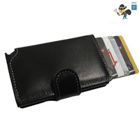 Genuine Leather Men Wallet Slim Mini RFID Wallet Aluminium Automatic Business Card Holder Pop Up Case