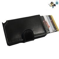 Genuine Leather Men Wallet Slim Mini RFID Wallet Aluminium Automatic Business Card Holder Pop Up Case