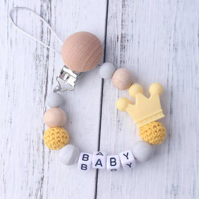 Nombre personalizado 1 Uds. Silicona Rosa bebé chupete Clips ganchillo cuentas silicona corona chupete cadena titular Baby Shower regalo
