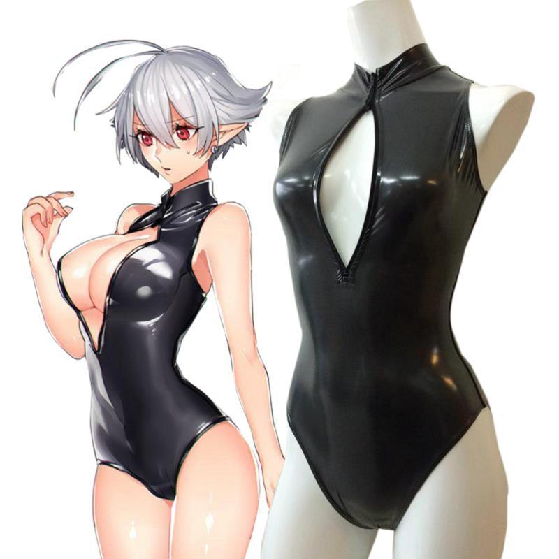 Escola japonesa SUKUMIZU <font><b>Swimsuit</b></font> Swim Wear Sexy Cosplay Anime Bonito <font><b>ZIP</b></font>-UP Peito Aberto image