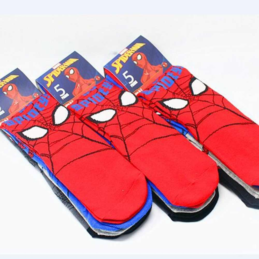 e4aa2ba4fe6ee Marvel Spiderman printing socks cosplay personalized Comfortable autumn red  man student new fashion Calcetines sokken 5pcs/lot